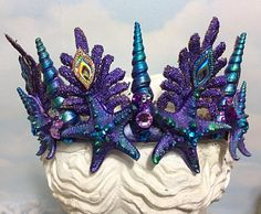 Shell Crowns, Seashell Crown, Crown Crafts, Little Mermaid Parties, Crown Headband, Bridal Crown, Adult Halloween, Halloween Ideas, Arts And Crafts