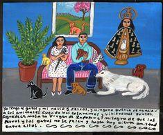 Mexican Exvoto retablo Love and Animals