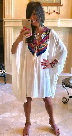 c146e3f658 Bohemian Summer Flowy Serape Embroidered Ivory Kaftan Dress w/Tassel Ties  S-XL #