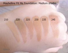 Silent Autumn beauty blog: Find your perfect shade swatches: Maybelline Fit Me Foundation