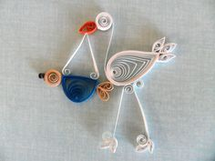 Scrapbooking Embellishment: Stork with Baby Bundle--Paper Quilled (Etsy)