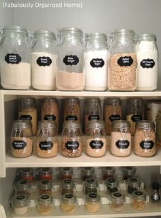 Mason Jar Home Organisation - great pantry organisation and declutter by using labelled Mason Jars to store flour, salt, sugar etc...