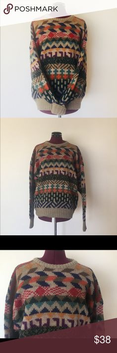 """SOLD 80s Oversized Sweater Tan Aztec Mens M Womans Vintage 80's Boston Traders long sleeve wool sweater with an Aztec design in warm vibrant colors. It's a pull over with a crew neck. It,s marked men's M but could fit a woman as well.     Color/print: Tan, colorful   Maker: Boston Traders  Size:  Men's M could fit women's L or XL    Chest-46""""  Waist-40""""  Arm Length- 26.5""""  Length-29""""  4"""" of stretch to this fabric on each side not included in the measurements   Condition: good, no rips or…"""