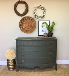 Green Chest of Drawers - Fixer Upper Furniture - Six Drawer Dresser - Federal Style Furniture - Double Dresser - Mahogany Dresser