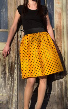 Aline skirt polka dot skirt Orange yellow and black by Deskisha