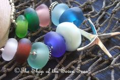 Starfish and Seaglass Euro Charm Necklace Bracelet Blue White Green Pink sra Nancy Larkin Sea Glass Beach Jewelry