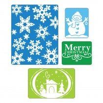 Sizzix Textured Impressions Embossing Folders 4PK - Christmas Set