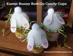 Easter Bunny Butt-Up Candy Cups - so easy to make with the kids or surprise them on Easter morning. |  ChocolateCakeMoments.com #easter