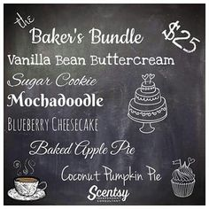 Love baking? Know someone who does? Here's the perfect bundle! Get it  https://ashleyreatz.scentsy.us/Buy/Build?sku=MP-6PK