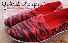 Shoe Makeover: Zebra Striped Classic Canvas Kicks. #crafts #shoes