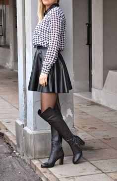 Skater Skirt, Boots, Skirts, Leather, Fashion, Crotch Boots, Moda, La Mode, Heeled Boots