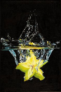 The second one. Acrylics on canvas 20 cm x 30 cm Here's the first one Splash 1 of 3 Splash 2 of 3 High Speed Photography, Shutter Photography, Splash Photography, Artistic Photography, Art Photography, Fruit Splash, Vegetables Photography, Hyper Realistic Paintings, Water Art