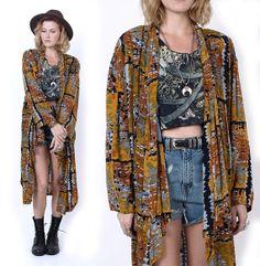 Ethnic Rayon Print Oversized Draped Duster Jacket Kimono Festival Oversized One Size