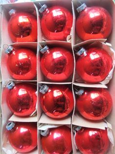 Vintage Lot Of 12 Red Christmas Ornaments Some by AuntSuesVintage, $14.99