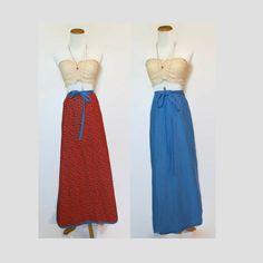 70s Wrap Skirt / Hippie Skirt / 70s Maxi Skirt / Reversible Skirt / High Waisted Skirt / Festival Skirt / 70s Skirt / Chambray Skirt by GoodLuxeVintage on Etsy