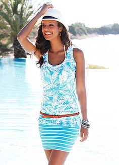 LASCANA Turquoise 2 in 1 Print Top & Skirt Set £25.00 #Swimwear365 #Hawaiian #Trend