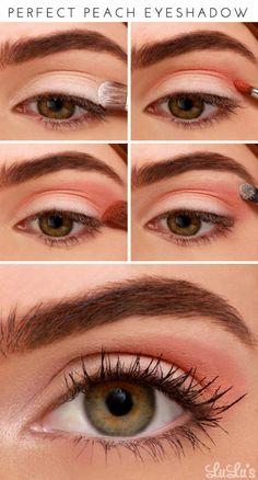 Peach Eye Makeup Tutorial - School Appropriate