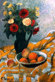 Bouquet, Peaches and Apricots, Paul Serusier - was a French painter who was a pioneer of abstract art and an inspiration for the avant-garde Nabi movement, Synthetism and Cloisonnism. Paul Gauguin, Paul Signac, Edouard Vuillard, Georges Seurat, Pierre Bonnard, Felix Vallotton, Maurice Utrillo, Still Life Fruit, Impressionist Artists