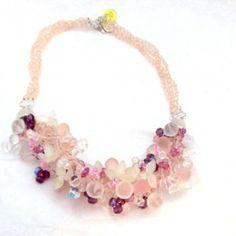 http://www.bitzofglitz.co  Pink, Purple, Frosted Bead Czech. Necklace  $80.00