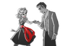 Dance by ~snarkies on deviantART this reminds me of the paperman how everything was black and white besides Meg's red lipstick