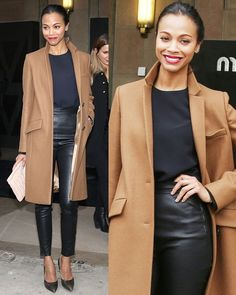 Chic and sleek! This neutral color palette is modern, while the structured jacket adds a classic feel. (Zoe Saldana)