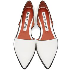 Acne Studios White DOrsay Madea Flats ($420) ❤ liked on Polyvore featuring shoes, flats, white flats, white shoes, flat pumps, pointed toe flats and leather sole flats