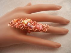 Copper Scribble Ring with Mother of Pearl by ShiriDaniella on Etsy, $36.00