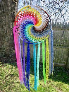 colorful rainbow crochet spiral dreamcatcher #CrochetProjects