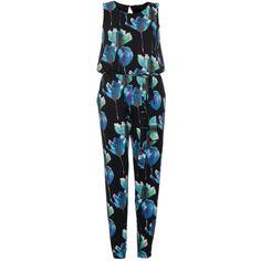Dorothy Perkins **Quiz Flower Print Jumpsuit ($53) ❤ liked on Polyvore featuring jumpsuits, black, black jumpsuit, black sleeveless jumpsuit, floral jumpsuit, sleeveless jumpsuit and dorothy perkins