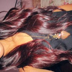 Burgundy and red ombre. Love this! getting my hair done next week and I'm thinking about this!