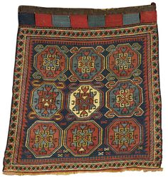 Shahsavan soumac bag face, South Caucasus approximately 1ft. 6in. by 1ft. 7in. (0.46 by 0.48m.) circa 1890
