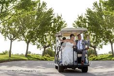 bride and groom in the golf cart at Poppy Ridge Golf Course in Livermore