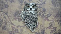 Porcelain Cabochon Owl Antoinette by Laura by LauraMearsDesigns