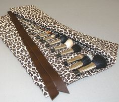 Large Makeup Brush Roll in Leopard, Brown and Cream