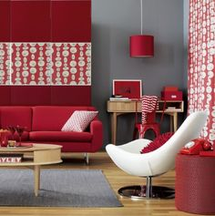 Comfortable Red Grey Living Room Idea With Fabulous Red Sofa And Unique  White Arm Chair