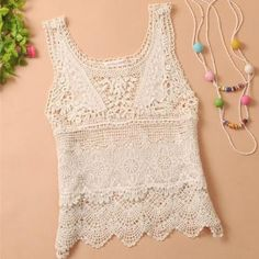 Hollow Crocheted Lace Tank ..