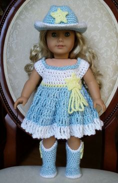 "Crocheted American Girl 18"" Doll Cowgirl Western Cowboy Dress Outfit Clothes Boots Hat Set, No Crochet Pattern on Etsy, $33.09 CAD"