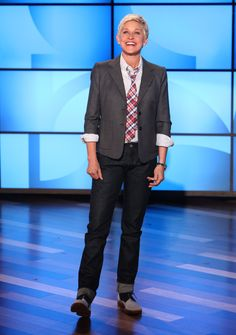 Ellen's Look of the Day: Boy by Band of Outsiders blazer; Band of Outsiders shirt; Brooks Brothers tie; Rising Sun denim jeans; Sartore saddle shoes.
