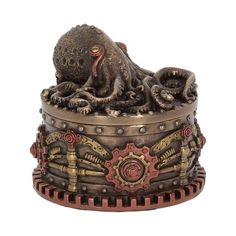 Steampunk Octopus Trinket Box Bronze Figurine Sculpture - Additional Information Octopus Boxtopus Steampunk Trinket Box Cast in Steampunk Octopus, Sticky Fingers, Nautical Theme, Steampunk Fashion, Accent Colors, Trinket Boxes, Primary Colors, The Help, Creatures
