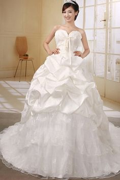 Sweetheart Luxury Ivory Wedding Gown - Order Link: http://www.theweddingdresses.com/sweetheart-luxury-ivory-wedding-gown-twdn0413.html - Embellishments: Beading , Embroidery , Pick-Ups , Sequin; Length: Cathedral Train; Fabric: Tulle; Waist: Natural - Price: 162.22USD