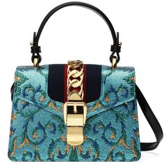 Gucci Sylvie Brocade Mini Bag ($2,250) ❤ liked on Polyvore featuring bags, handbags, multicolor, gucci purse, colorful purses, chain handbags, blue purse and gucci handbags
