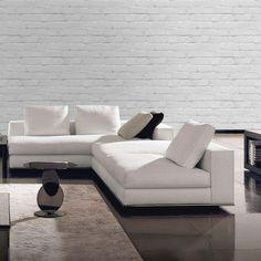 'Loft' White/Grey Brick Effect Wallpaper Grey Brick Effect Wallpaper, Feature Wallpaper, White Brick Walls, Front Rooms, Wallpaper Samples, Bedroom Loft, Cool Rooms, New Room, Textured Walls