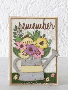Mistletoe Home Designs: Watering can and flowers and brick wall, Tim Holtz Funky Florals, Sizzix Tim Holtz Dies, Stampers Anonymous, Ranger Ink, All Holidays, Alcohol Inks, Watering Can, Mistletoe, Flower Cards, Brick Wall