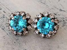 Teal turquoise crystal stud earrings, Aqua blue earrings, Bridesmaid gift, weddings, Bridal earrings Amethyst Earrings, Blue Earrings, Crystal Earrings, Crystal Jewelry, Bridal Bracelet, Bridal Earrings, Etsy Earrings, Bridesmaid Earrings, Bridesmaids