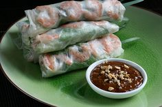 vietnamese spring rolls with peanut dipping sauce...so delicious, it's what's for dinner....