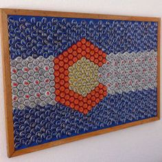 Colorado Beer cap flag! So near I bet I have enough bottle caps to make like a million of these maybe I will try.