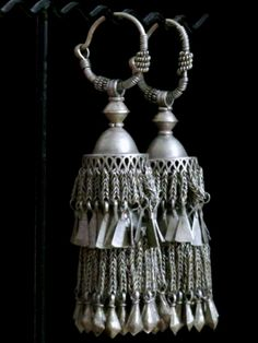 Spectacular Large Kuchi Tribal Earrings from Northern India
