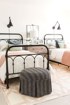 Girls Farmhouse Bedroom, black wire frames, white bedding, grey ottoman, shared girls room is part of Farmhouse bedroom - Home Bedroom, Bedroom Furniture, Bedroom Decor, Bedroom Girls, Modern Bedroom, Twin Bedroom Ideas, Contemporary Bedroom, Bedroom Lighting, Master Bedroom
