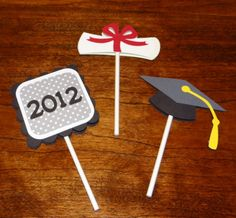 Graduation Cupcake Toppers  Graduation Supplies by Scrappin2gether, $10.00