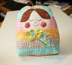 Quilted matrioska doll full tutorial and free pattern, http://shequiltstoday  This doll is on my Christmas presents to make